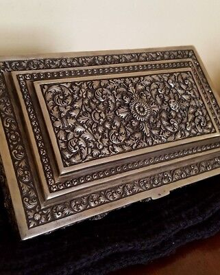 Antique Indian South East Asia Solid Silver Rectangular Box 19Th C