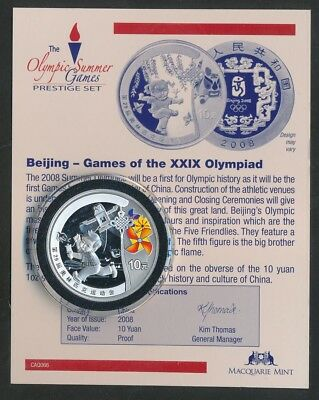 CHINA: 2008 Beijing Olympic GameS, Kid w Kite 10 Yuan Silver Encapsulated w CoA