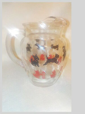 1950's Federal Glass Scottish Terrier Scottie Dog Fire Hydrant Pitcher Red Black