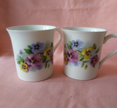 Vintage Set of 2 Rosina Bone China Coffee Floral Cups/Mugs  England