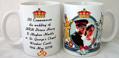 Prince Harry & Meghan Markle Royal Wedding Dress Coat Arms Coffee Tea 11 oz Mug