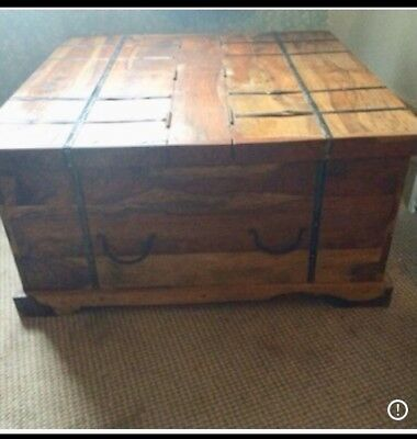 Antique Chinese(?) Wood Wooden Double Trunk Side Opening Chest Box Coffee Table
