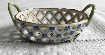 Herend Hungary Reticulated Miniature Basket With Rothschild Birds Blue Daisies
