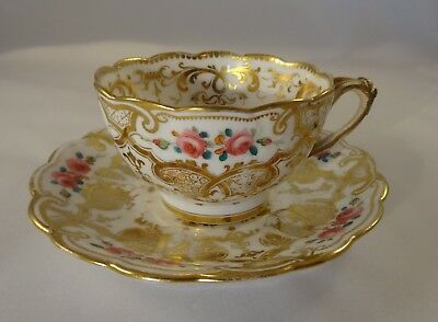 Antique Ridgway 5/2418 Gilded Floral Divided Handle Tea Cup & Saucer c1855