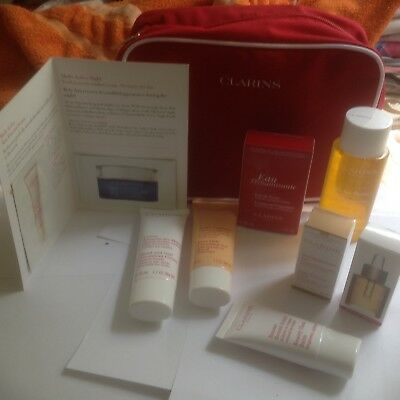 CLARINS GIFT SET/HOLIDAYS/Birthday/Party/7-ITEMS+COSMETIC BAG/Festival/Travel