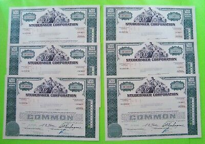 SIX (6) 1960s STUDEBAKER CORP. STOCK CERTIFICATES Green <100 Shares ORIG'L Xlnt