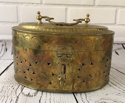 Vintage Large Oval Brass Decorative Box With Handle
