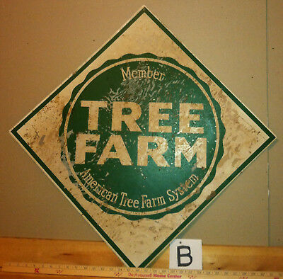 "vintage TREE FARM metal enamel sign (#""B"") forest boundary conservation wildlife"