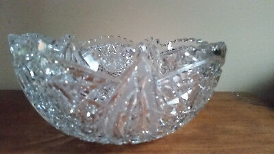 "Antique/Vintage ""AMERICAN BRILLIANT"" Ornate Cut Crystal Bowl 9""X4"""
