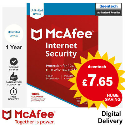 McAfee Internet Security 2020 Unlimited/1Year Genuine Authentic License Windows