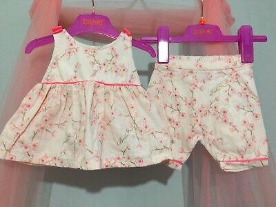 Baby Girls Designer Ted Baker Pink Glittery Blossom Outfit Top & Bottoms 3-6m🎀