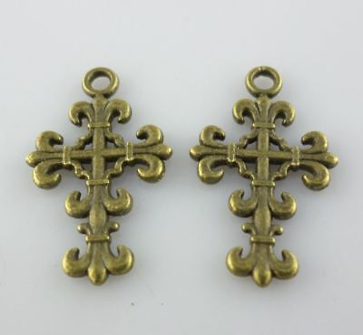 16pcs Ancient bronze cross Spacer Charms Pendants 23*14mm DIY Jewelry Making