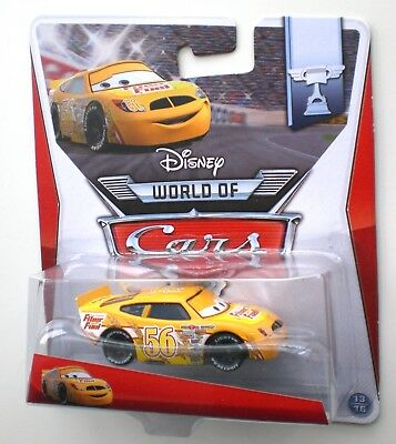 "Cars 2 3 FIBER FUEL No. 56 MATTEL Disney ""WORLD OF"" EU-Card Die-Cast OVP 13/16 !"