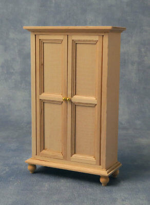 Wooden Two Door Wardrobe, Dolls House Miniature Furniture, 1.12 Scale