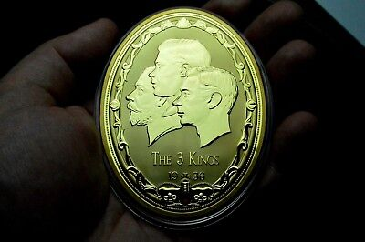 Large Egg Shaped 1936 Year Of Three Kings Medal Gold Plated Edward Viii George