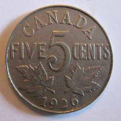 Canada 1926 Five Cents Low 938,000 Mintage Near 6