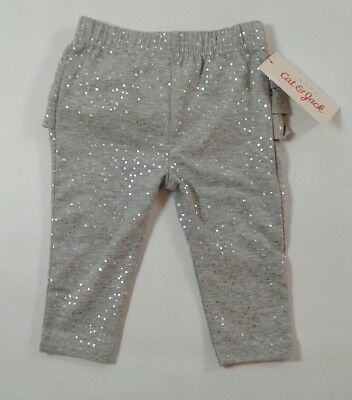 Girls Infant Baby Cat & Jack Pants W/Ruffles On Back Size 0-3 Months Gray (2289)