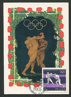 POLEN MK 1964 OLYMPIA BOXEN BOXING OLYMPICS MAXIMUMKARTE MAXIMUM CARD MC d5153