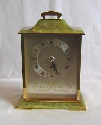 Brass & Onyx Cased Mantle Clock with German Battery Movement C.1970s:  Working