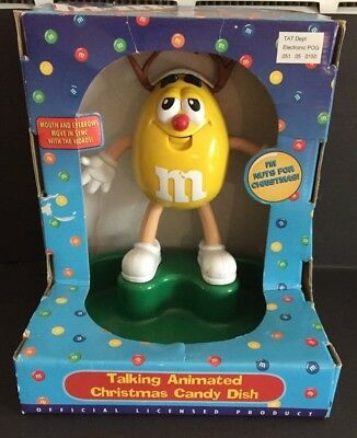 M & M s YELLOW CHARACTER TALKING ANIMATED CHRISTMAS   CANDY DISH