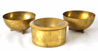 3x Officina Alessi Italy Original Bauhaus Modell Brass Ashtray Vtg Ashtrays