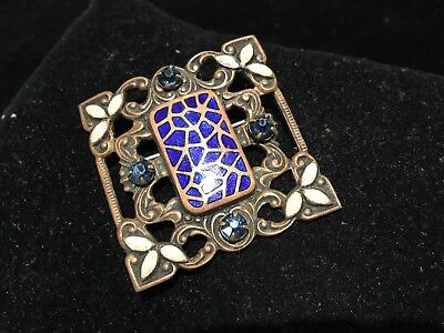 Antique Victorian Enamel & Rhinestone Square Brooch Pin Must See No Reserve