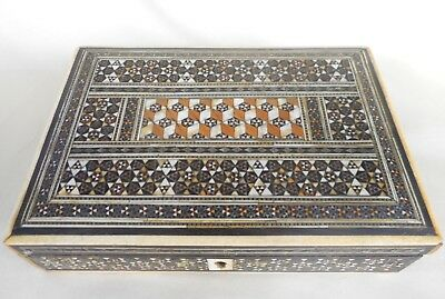Antique Anglo Indian Sadeli Inlaid Box With Fitted Interior For Jewellery
