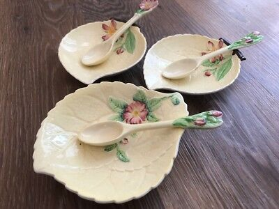 Rare Vintage Carlton Ware set of 3 Leaves / Flowers with matching spoons