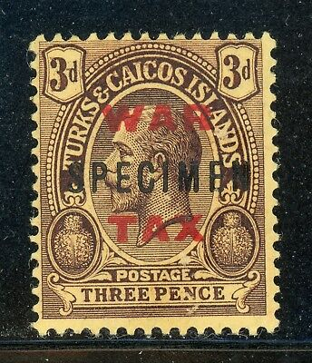 Turks & Caicos MH Selections: Scott #MR9 3p KGV RED War Tax SPECIMEN (1918) $$$