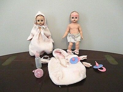 "Vintage 50's Madame Alexander 7"" Baby Wendy Kins Doll lot tagged clothes diapers"