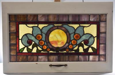 "Antique Victorian Ripple Glass Jeweled Stained Glass Window 24""x12"""