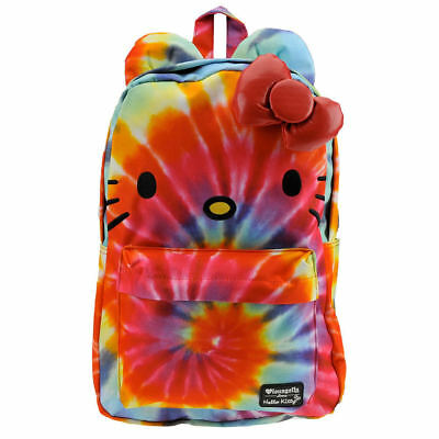 Hello Kitty Rainbow Tie Dye Backpack Bag Loungefly Sanrio 3D Bow Face NEW bbcfd0f63294d