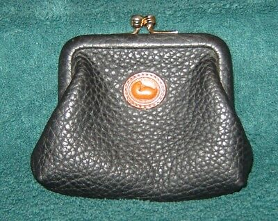 Vintage Dooney & Bourke Black Leather Kiss Lock Coin Change Purse Duck Emblem