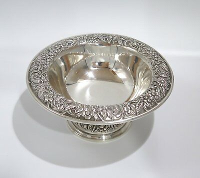6.25 in Sterling Silver S Kirk & Son Antique Floral Repousse Footed Serving Bowl