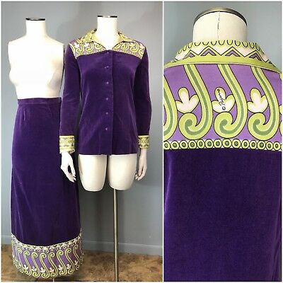 Vtg 70s Maxi Skirt Royal Purple Psychedelic Paganne Blouse Jacket Velvet Logo S