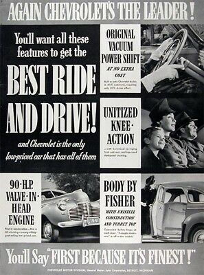 1941 CHEVROLET Lot of (2) Genuine Vintage Advertisements