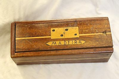 Rare Madeira Hand Made Set of Twenty Eight Dominoes in Wooden Box Robert Haber