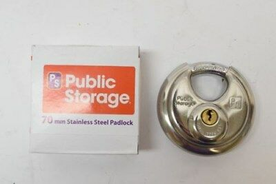 "NEW Public Storage 127 2-3/4"" 70mm Stainless Steel Hardened Disc Padlock Lock"