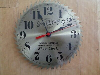 "Vintage 10"" Sears Roebuck Craftsman Battery Powered Saw Blade Shop Clock Working"