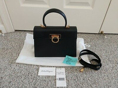 c2fa5859fe45 Salvatore Ferragamo Classic Saffiano Leather Kelly Handbag Black - Italy