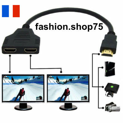 CABLE ADAPTATEUR HDMI 1 Male à Double HDMI 2 Femelle Y - LCD PLASMA HD LED Lcd