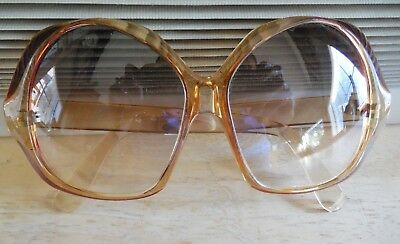 Womens Vintage Foster Grant Usa Clear Brown Jackie O Oversized 70's Sunglasses