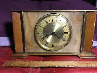 "Nice Retro Battery operated ""METAMEC"" Mantel Clock with Wood & Brass Finish"