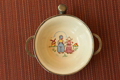 Vintage 1940s Porcelain BABY Warming Dish Bowl Chrome EXCELLO Dutch Boy & Girl