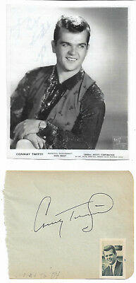 Conway Twitty - Vintage In Person Genuine Hand Signed Album Page With Picture.