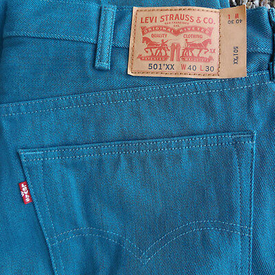 c6333b6641a Levi's 501XX Straight Leg Button Fly Teal Green Jeans 501 Shrink to Fit  40x30