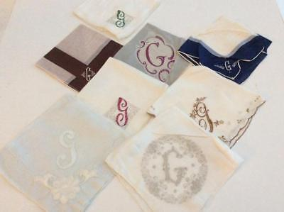 Vintage Lot of 8 Hankies Handkerchiefs with Initial G Monogrammed Several Styles