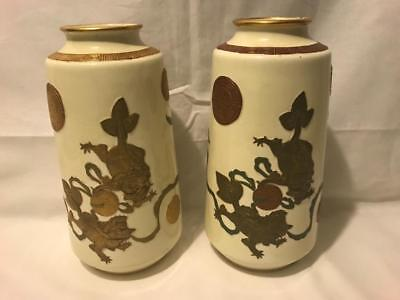 """Pair of 10"""" Worcester Aesthetic Movement Vases with Heavy Gilt Temple Lions Dogs"""