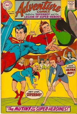"DC Comics - ADVENTURE COMICS #368 MAY 1968 ""MUTINY OF THE SUPER HEROINES!"""