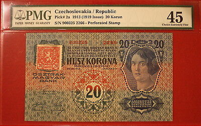 Czechoslovakia Republic Pick 2a 1919 issue 20 Korun MS 45 Choice Extremely Fine